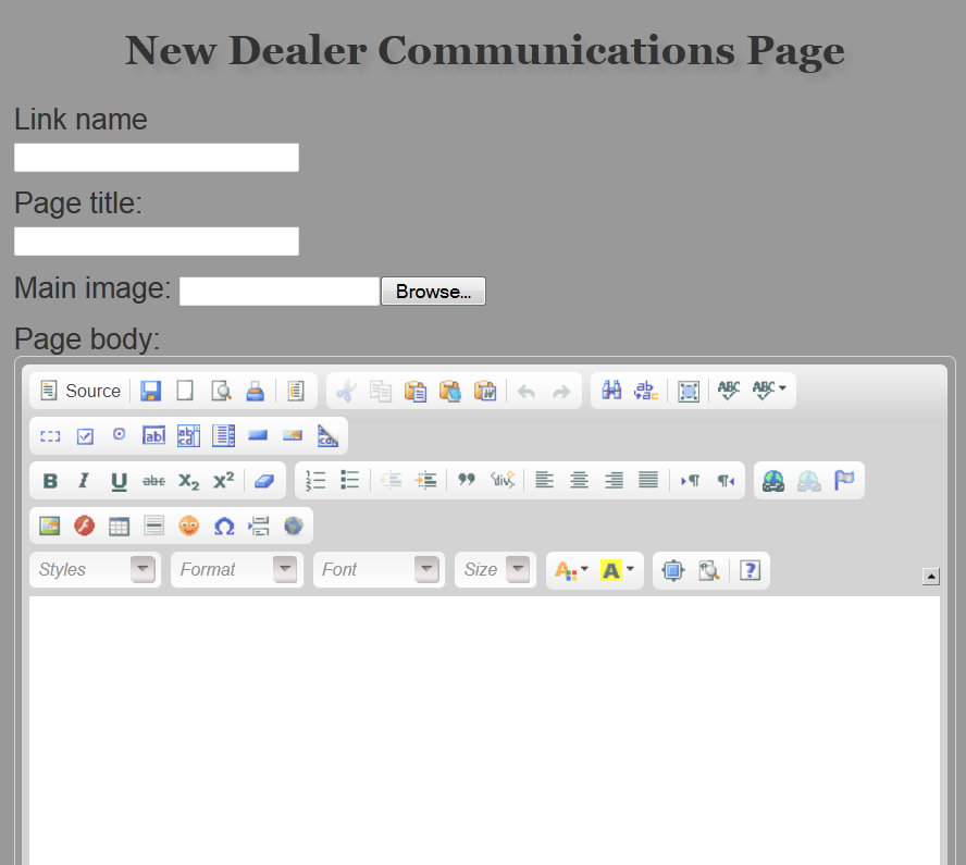 Screen for adding new page